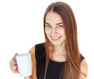 Beautiful young smiling woman with cup Stock Photography