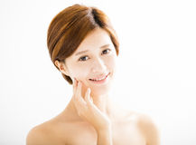 beautiful young smiling  woman  face Stock Images