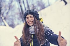 Beautiful young woman in winter. Beautiful young smiling woman in good winter weather happy Stock Photos