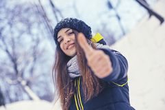 Beautiful young woman in winter Stock Image