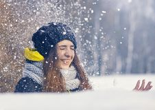 Beautiful young woman in winter Royalty Free Stock Photography
