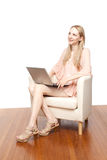 Beautiful young  smiling woman with laptop Royalty Free Stock Image