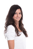 Beautiful young smiling woman with long black hair isolated on a Stock Photography
