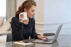 Beautiful young smiling woman working on laptop and drinking coffee stock images