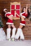 Beautiful young Snow Maiden girls Stock Photos