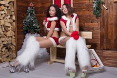 Beautiful young Snow Maiden girls Royalty Free Stock Photography