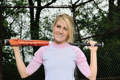 Beautiful young softball player Royalty Free Stock Images