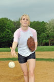 Beautiful young softball player Stock Photography