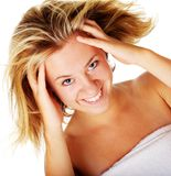 Beautiful Young Spa Vrouw op Wit Stock Afbeelding