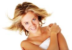 Beautiful Young Spa Vrouw op Wit Stock Afbeeldingen