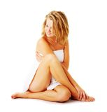 Beautiful Young Spa Woman On White Stock Photography