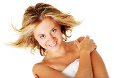 Beautiful Young Spa Woman On White Stock Images