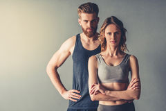 Beautiful young sports couple royalty free stock image