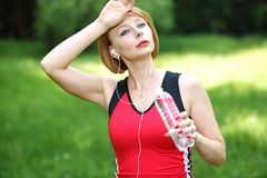 Beautiful young sports woman Stock Images