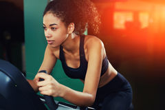 Beautiful young sportswoman deal with cardio training Stock Photos