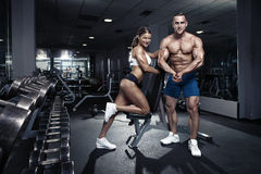 Beautiful young sporty sexy couple in gym Stock Image