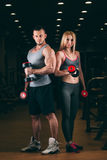 Beautiful young sporty couple showing muscle and workout in gym dumbbell Royalty Free Stock Image