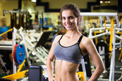 Beautiful young sporty woman. Fitness girl training in sport club with exercise equipments. stock image