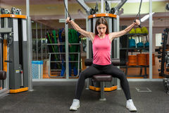 Beautiful young sporty woman training on row machine in gym stock image
