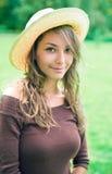 Beautiful young spring brunette enyjoying nature. Stock Images