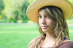 Beautiful young spring brunette outdoors. Stock Photos