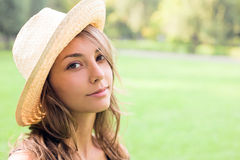 Beautiful young spring brunette outdoors. Royalty Free Stock Images
