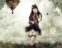 Beautiful young steampunk woman outdoor Royalty Free Stock Images
