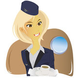 Beautiful young stewardess Stock Photography