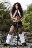 Beautiful Young Strong Hunter Warrior Woman Royalty Free Stock Images