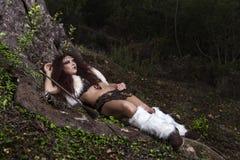 Beautiful young strong hunter warrior woman Royalty Free Stock Photo