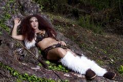 Beautiful young strong hunter warrior woman Royalty Free Stock Photos