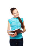 Beautiful young student with  books  in hand Stock Photography