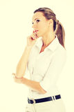 Beautiful young student,business woman thinking. Royalty Free Stock Images