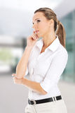 Beautiful young student,business woman thinking. Royalty Free Stock Image