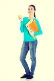 Beautiful young student with files and apple. Stock Photo