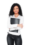 Beautiful young student with folder Royalty Free Stock Photos
