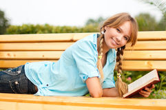 Beautiful young student girl Stock Photos