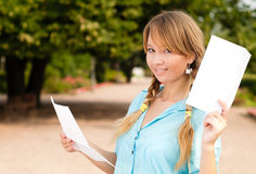 Beautiful young student girl with letter Royalty Free Stock Images