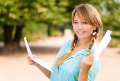 Beautiful young student girl with letter Royalty Free Stock Photos