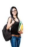 Beautiful young student girl showing thumbs up. Stock Image