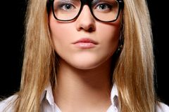Beautiful young student isolated on black Stock Photography