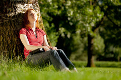 A beautiful young student outdoors Stock Photo