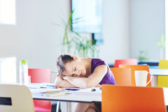 Beautiful young student studying in the library or classroom royalty free stock photos