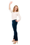 Beautiful young student waving her hand. Royalty Free Stock Photo