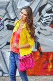 Beautiful young stylish woman with bag Royalty Free Stock Images