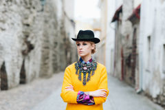 Beautiful, young stylish woman in the old town Royalty Free Stock Images