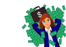Beautiful young successful rich brunette business woman under falling money rain shower Royalty Free Stock Photography