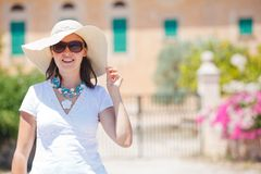 Beautiful young summer woman in hat Royalty Free Stock Photo