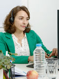 Beautiful young support phone operator with headset Royalty Free Stock Photo