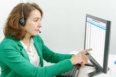 Beautiful young support phone operator with headset Royalty Free Stock Photos